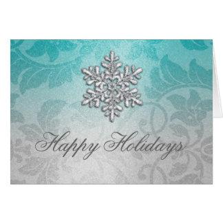 Aqua and Silver Shimmer Damask Holiday Card