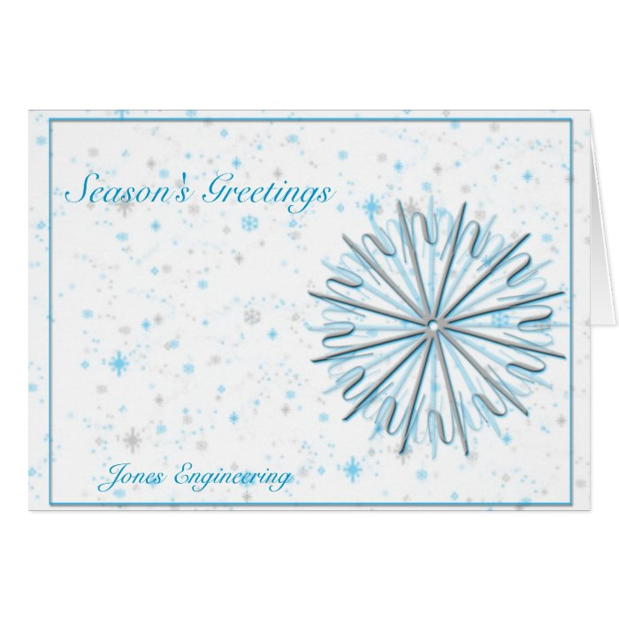 Aqua and Silver Snowflake Graphic on White Card