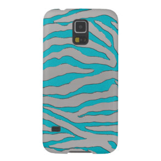 Aqua and Silver Zebra Stripe Galaxy S5 Case