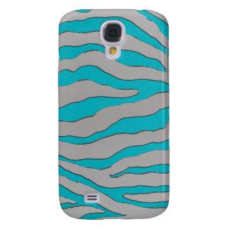 Aqua and Silver Zebra Stripe Samsung Galaxy S4 Cover