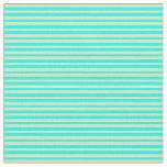 [ Thumbnail: Aqua and Tan Colored Lines Fabric ]