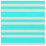[ Thumbnail: Aqua and Tan Colored Stripes Pattern Fabric ]