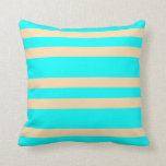 [ Thumbnail: Aqua and Tan Colored Stripes Pattern Throw Pillow ]