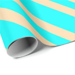 [ Thumbnail: Aqua and Tan Colored Stripes Pattern Wrapping Paper ]