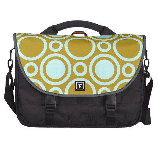 Aqua and Tan Geometric Circles Laptop Bag