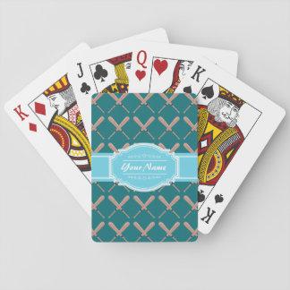 Aqua and Teal Baseball Bat Pattern Personalized Playing Cards