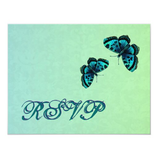 Aqua and Teal Butterfly Damask RSVP Wedding 4.25x5.5 Paper Invitation Card