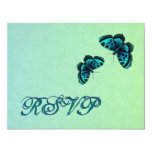 Aqua and Teal Butterfly Damask RSVP Wedding Invite