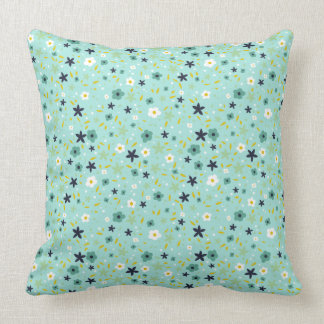 Aqua and Teal Ditsy Floral Pattern Pillow