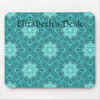 Aqua and teal fractal kaleidoscope for your name mouse pad