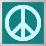 Aqua and Teal Peace Symbol Poster