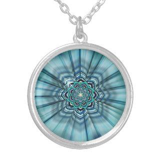 Aqua and Turquoise Lotus Mandala Pendant Necklace
