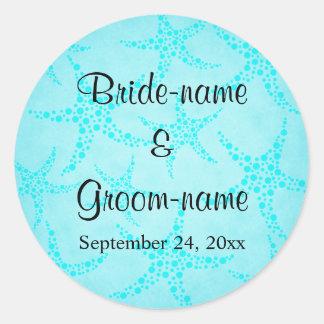 Aqua and Turquoise Starfish Wedding. Classic Round Sticker