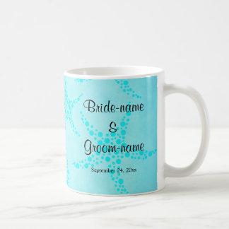 Aqua and Turquoise Starfish Wedding. Coffee Mug