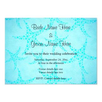 Aqua and Turquoise Starfish Wedding. Custom Announcements
