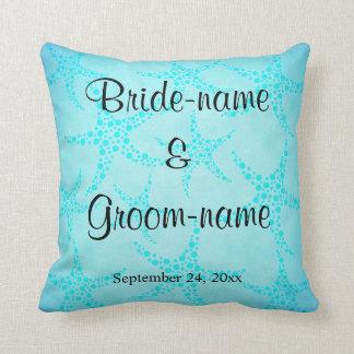 Aqua and Turquoise Starfish Wedding. Pillow