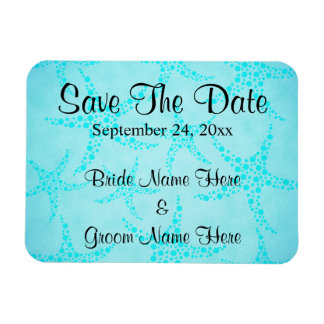Aqua and Turquoise Starfish Wedding. Rectangular Photo Magnet