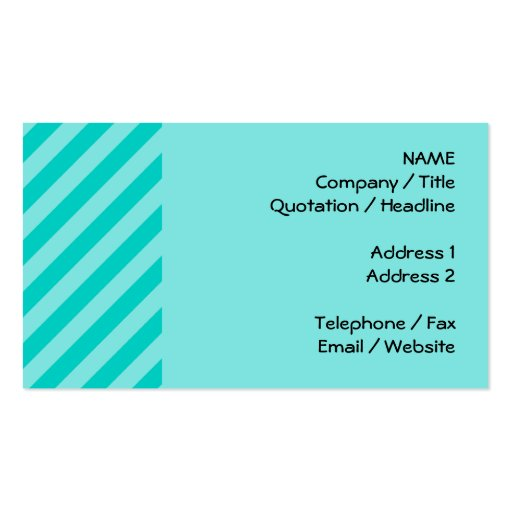 Aqua and Turquoise Stripes Double-Sided Standard Business Cards (Pack Of 100)