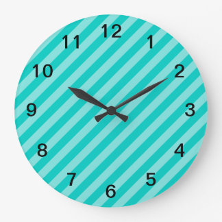 Aqua and Turquoise Stripes Large Clock
