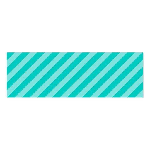Aqua and Turquoise Stripes Mini Business Card