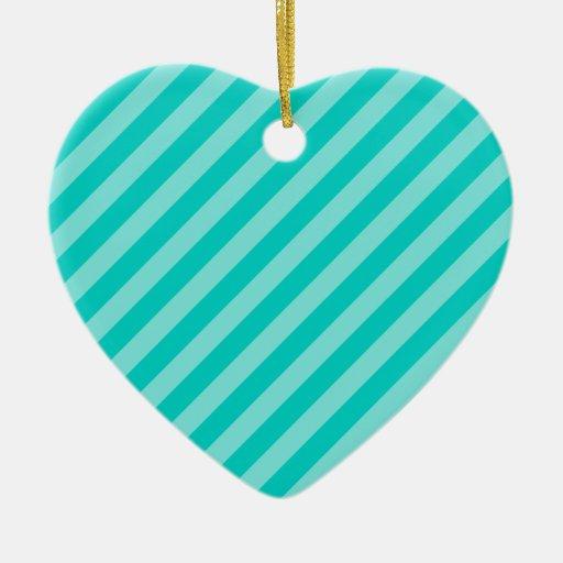 Aqua and Turquoise Stripes Ornament