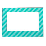 Aqua and Turquoise Stripes Photo Frame Magnets