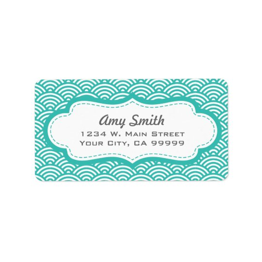 Aqua and White Asian Pattern Address Labels