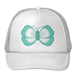 Aqua and White Butterfly Trucker Hat