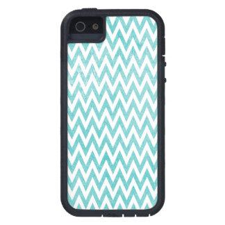 Aqua and White Chevron Cover For iPhone 5