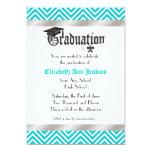 """Aqua and White Chevron Graduation Announcement 5"""" X 7"""" Invitation Card"""