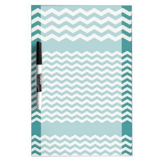 Aqua and White Chevron Stripe Dry Erase Board