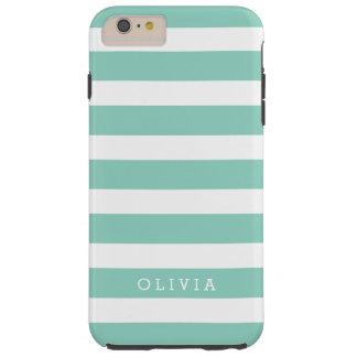 Aqua and White Classic Stripes Monogram Tough iPhone 6 Plus Case