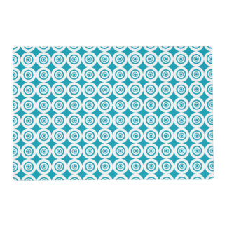 Aqua and White Concentric Circles Pattern Placemat