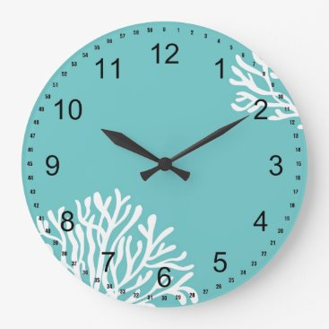 Beach Themed Aqua and White Coral Large Clock
