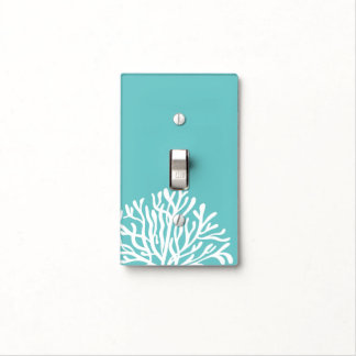 Aqua and White Coral Light Switch Cover