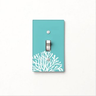 Aqua and White Coral Light Switch Plates