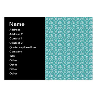 Aqua and White Curlie Cue Pattern Large Business Cards (Pack Of 100)