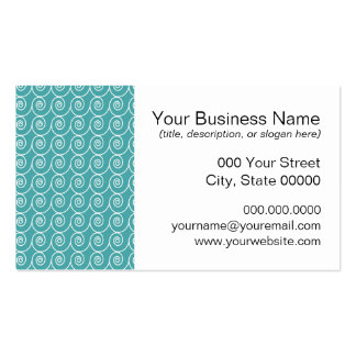 Aqua and White Curlie Cue Pattern Double-Sided Standard Business Cards (Pack Of 100)