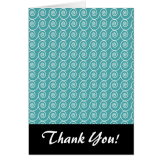 Aqua and White Curlie Cue Pattern Stationery Note Card
