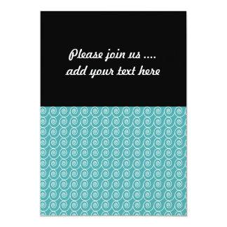 Aqua and White Curlie Cue Pattern 5x7 Paper Invitation Card