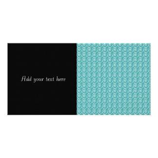 Aqua and White Curlie Cue Pattern Picture Card