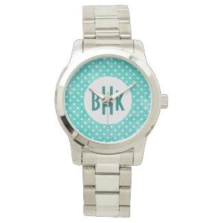 Aqua and White Custom Monogram Oversized Watch