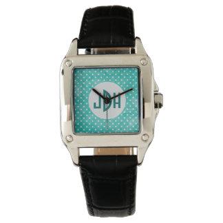 Aqua and White Custom Monogram Square Watch