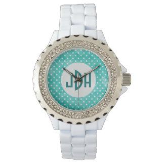 Aqua and White Custom Monogram Watch
