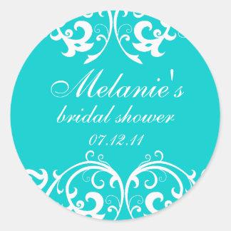Aqua and White Damask Bridal Shower Sticker
