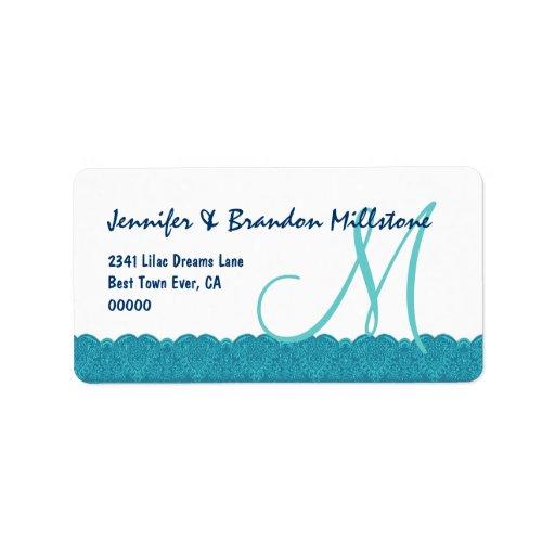 Aqua and White Damask Monogram Lace Border Wedding Address Label