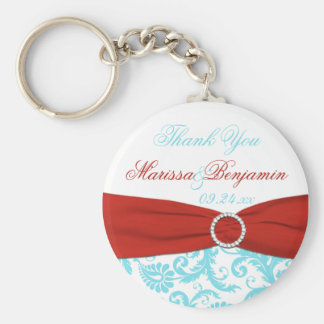 Aqua and White Damask with Red PRINTED Ribbon Keychain