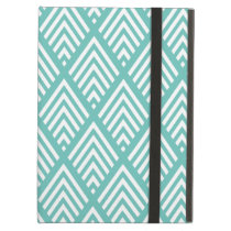 Aqua and White Diamond Arrow Chevron Pattern Cover For iPad Air