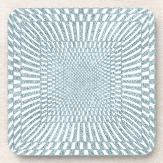 Aqua and White Distorted Checkered Pattern Beverage Coasters