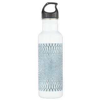 Aqua and White Distorted Checkered Pattern Water Bottle